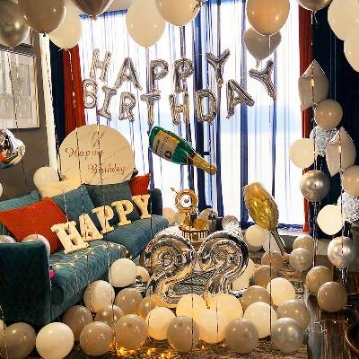 花草芬芳成人生日布置气球